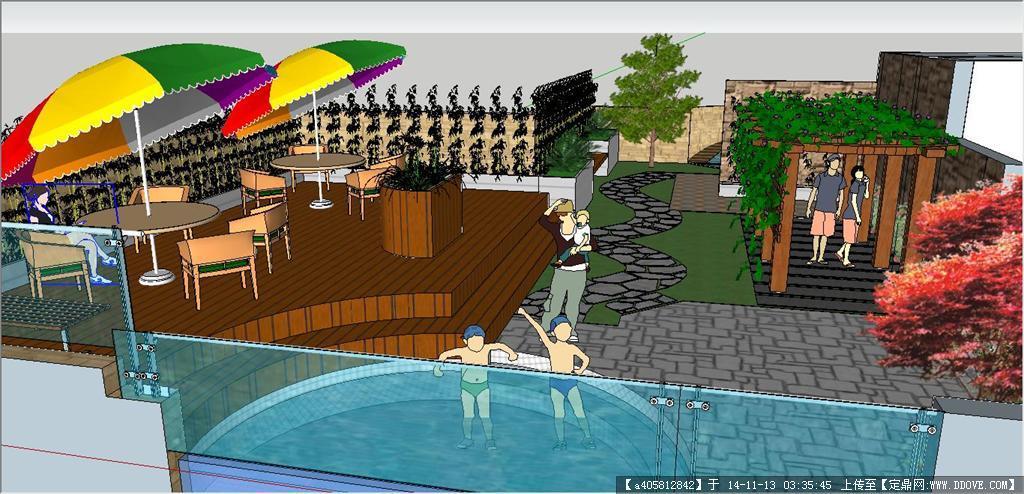 别墅屋顶花园设计图su模型