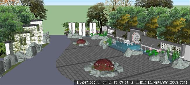 新中式小区入口景观方案su精致设计模型