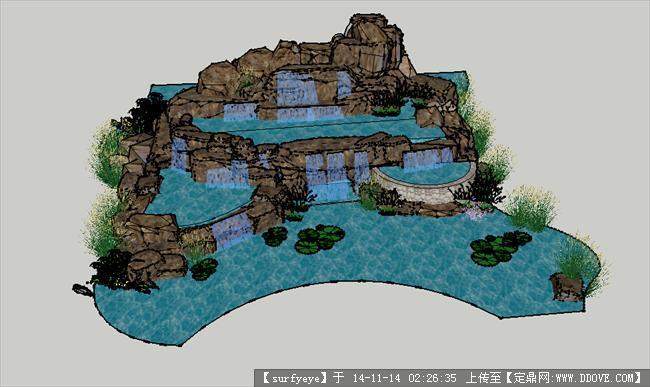 假山叠水su模型的下载地址,sketchup草图大师模型,,_.