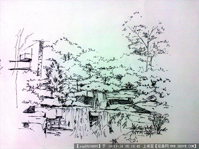 手绘草图园林景观