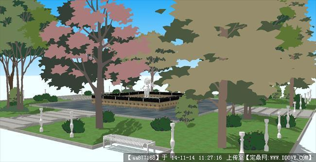 小型欧式广场水景su精致设计模型