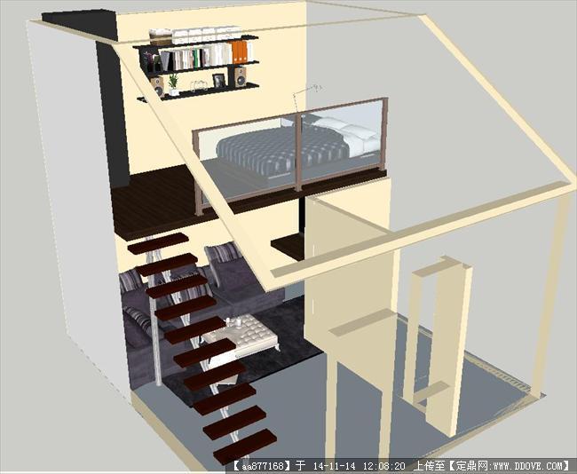小复式单身公寓su精致设计模型