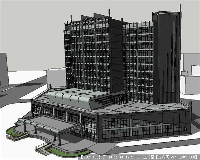 现代简约酒店建筑方案su精致设计模型