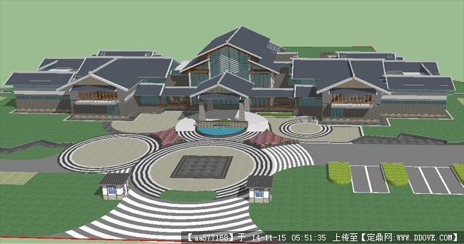 一个游客服务中心精细su设计模型图片