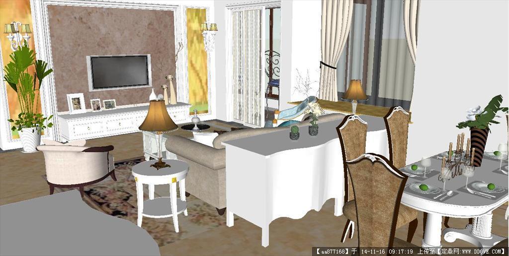 简欧室内方案su精致设计模型的下载地址图片