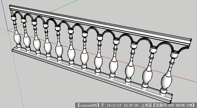 欧式栏杆设计su模型图片