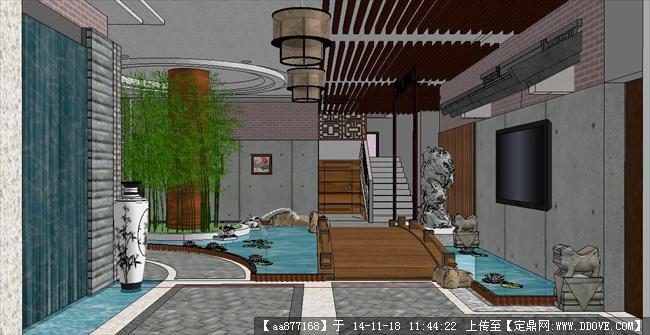 中式酒店接待大廳裝潢方案精細su設計模型