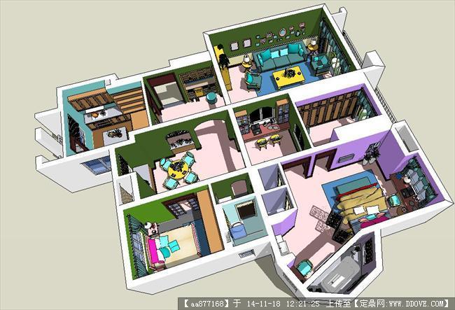 欧式户型室内家装方案精细su设计模型