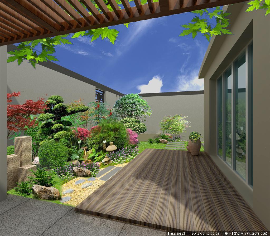 中式庭院景观绿化效果图 psd格式