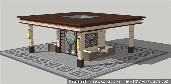 亭子方案精细sketchup设计模型