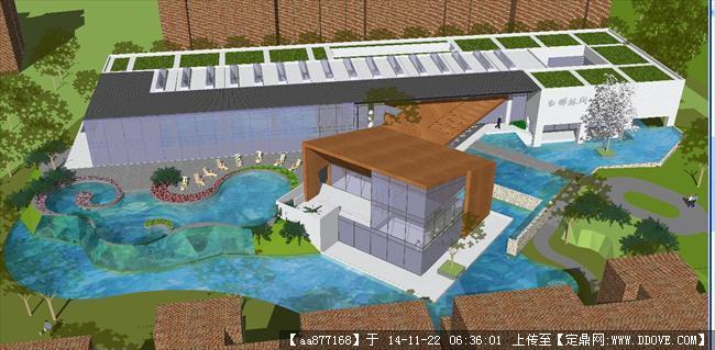 白桦林间住宅现代会所精细sketchup设计模型