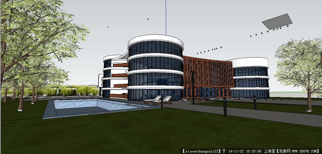 建筑设计 图书馆 别墅 su cad 效果图