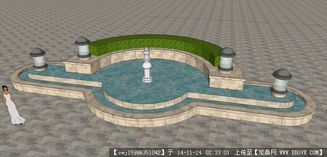 欧式喷泉设计su模型的下载地址