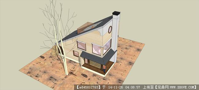 单坡屋顶小别墅su模型
