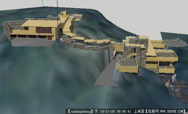 流水别墅建筑设计su模型