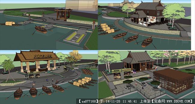 东南亚风格滨河景观方案SU精细设计模型