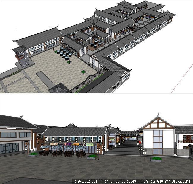 古建商业街建筑设计su模型图片