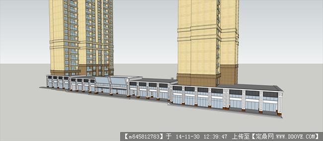 高层住宅 沿街商业建筑设计su模型
