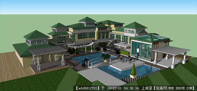 精细欧式大别墅建筑设计su模型