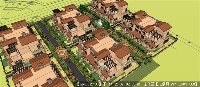 联排别墅建筑规划设计su模型