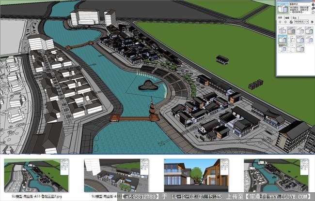 鲁能三亚滨河商业街规划设计su模型