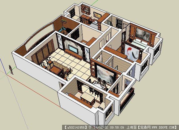 中式室内设计su模型的下载地址