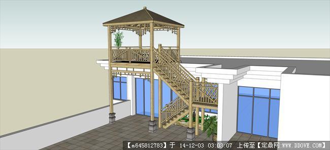木结构楼梯精细su模型