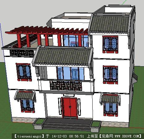 中式小别墅建筑设计su模型张店区买卖别墅淄博市图片