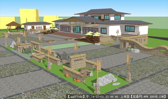 农家乐度假酒店sketchup精细设计模型