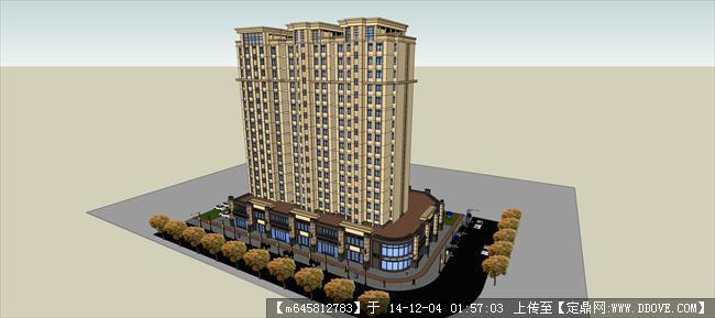 欧式高层商业住宅公寓su模型