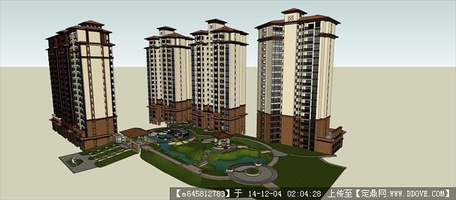 欧式高层住宅小区及景观su模型