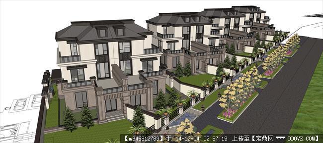 欧式联排别墅建筑设计su模型