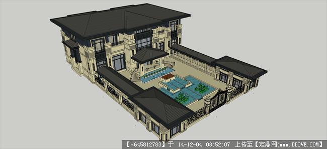欧式庭院别墅及景观su模型