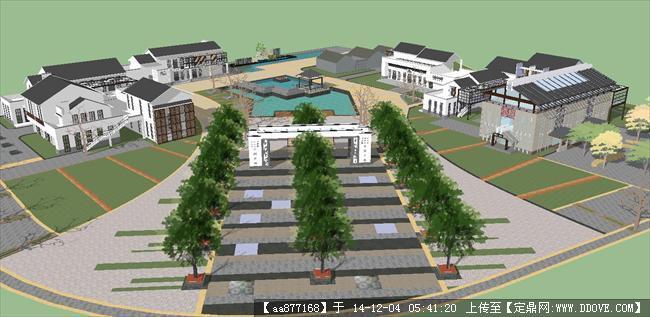 新中式商业街坊建筑与景观方案sketchup精细设计模型