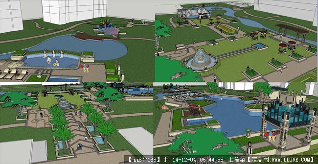 artdeco风格住宅小区景观方案sketchup精细设计模型