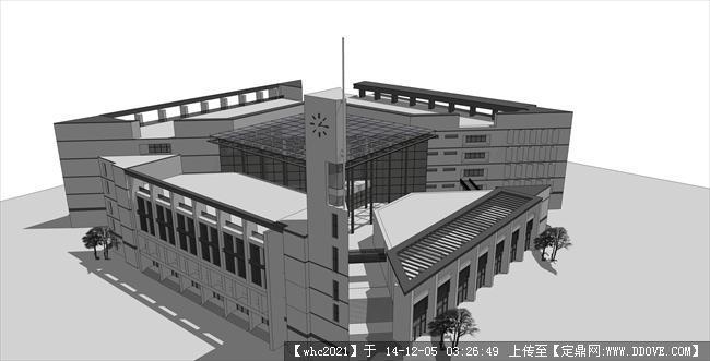 福州大学图书馆精致su模型图片