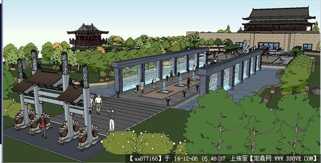 祖庙公园景观方案sketchup精细设计模型
