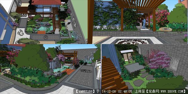 中式别墅小院落su精细设计模型图片