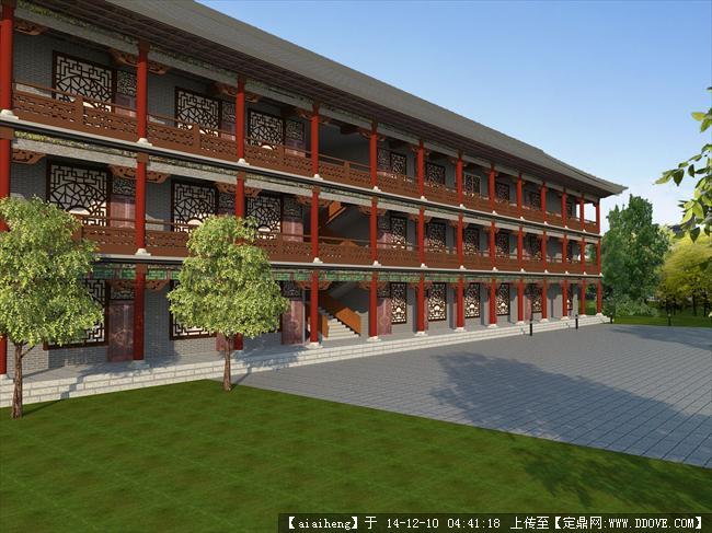 中国古楼建筑设计su模型