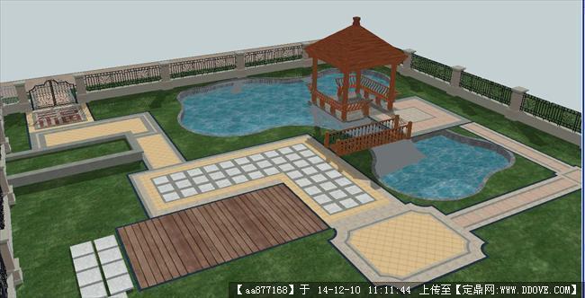 中式别墅庭院景观sketchup精细设计模型