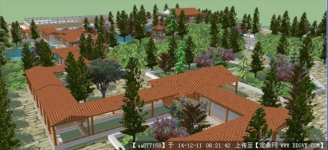 中式古典园林公园sketchup精细设计模型