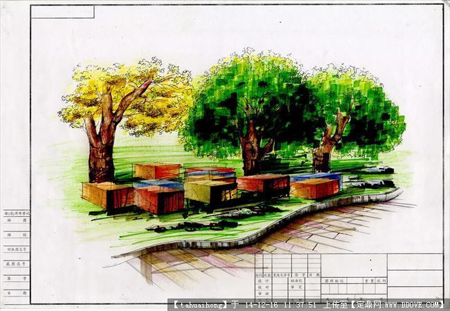 一套校园景观平面规划图及效果图参考资料(手绘+cad)