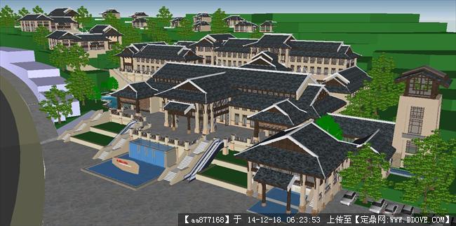 新中式酒店项目建筑方案sketchup精细设计模型