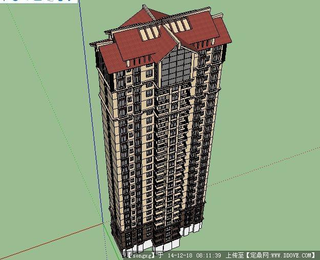 小区高层建筑设计方案su模型