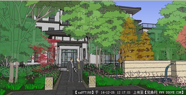 私家豪宅别墅带庭院景观su精品建筑设计模型