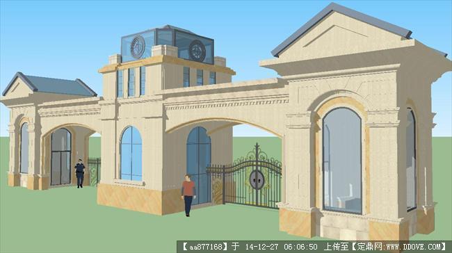 一个欧式入口门楼方案su精品建筑设计模型