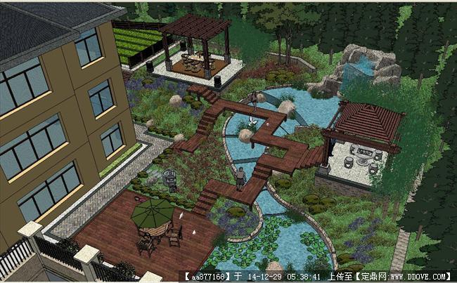 山地别墅花园景观方案su精品设计模型