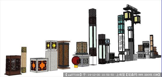 中式灯柱组集su精品建筑设计模型