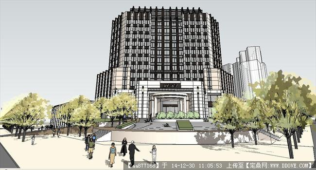 新古典风格办公楼+商业su精品设计模型