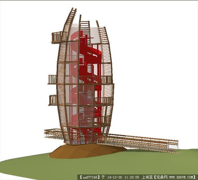 观景塔su精品建筑设计模型